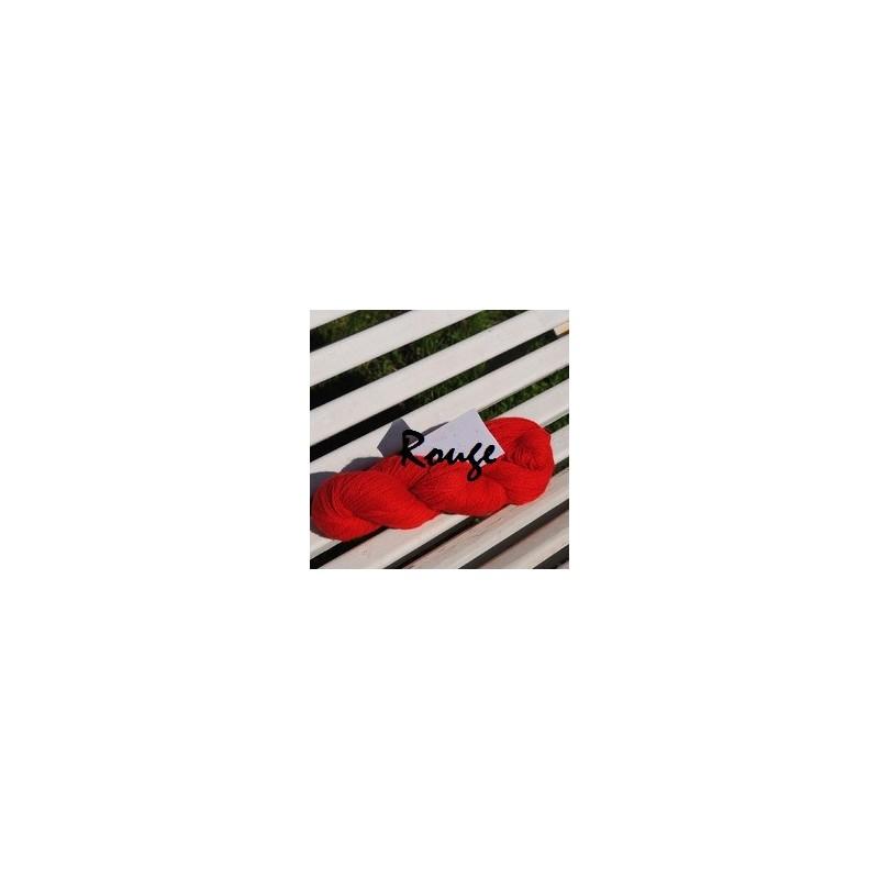 Laine à Tricoter/Crocheter & plus Coloris Rouge 100% laine BIO de mouton (Echeveau : 100 gr, 400 m de fils)