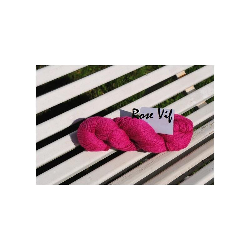 Laine à Tricoter/Crocheter & plus, Coloris : Rose Vif 100% laine BIO de mouton (Echeveau : 100 gr, 400 m de fils)