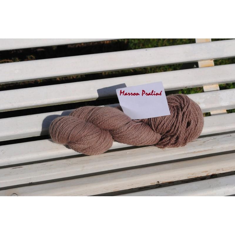 Laine à Tricoter/Crocheter & plus, Coloris : Marron Praliné 100% laine BIO de mouton (Echeveau de 100 gr, 400 m de fils)