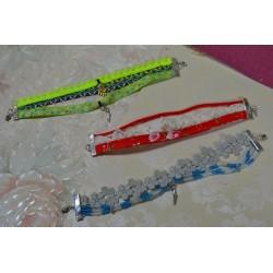 Ruban mini pompon Rose Fluo vendu par 50 cm (Utilisation : couture, Bracelet,décoration...)
