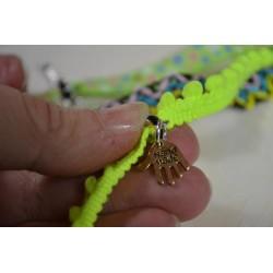 Ruban mini pompon Vert Fluo vendu par 50 cm (Utilisation : couture, Bracelet,décoration...)