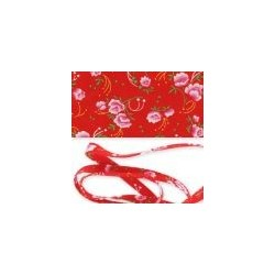 Biais Fleurs Pivoine Rouge Petit Pan 40mm Vendu au Mètre