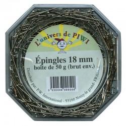 Epingles Clous Argenté pour sequins  18 mm (vendue boîte de 50 gr)