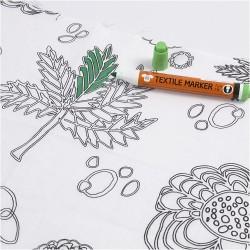 Tissu A colorier imprimé grandes fleurs & feuilles (l: 145 cm vendu par 10 cm) 100% coton