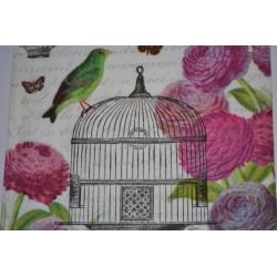 """Serviette en papier Motifs Nature """"Coeur Colombes"""" Gris Blanc Rose  (vendue à l'unité)  33 x 33cm"""