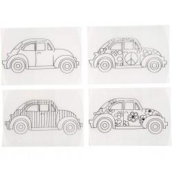 Plastique fou Dingue Cristal  Assortiment 4 Motifs  à colorier voitures coccinelle,  sachet de 4 feuilles de 10,5x14,5 cm