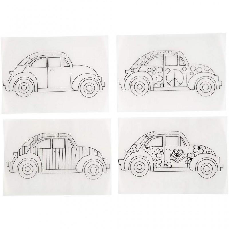 Coloriage Coccinelle Volkswagen.Plastique Fou Dingue Cristal Assortiment 4 Motifs A Colorier Voitures Coccinelle Sachet De 4 Feuilles De 10 5x14 5 Cm