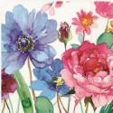 Serviette en papier motifs Fleurs Aquarelle   (vendue à l'unité,  30 x 30 cm)