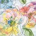 Serviette en papier motifs Fleurs Dessin Aquarelle pastel  (vendue à l'unité,  30 x 30 cm)