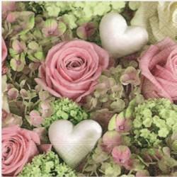Serviette en papier motifs Tapis de Coeurs Blancs & de Roses   (vendue à l'unité,  30 x 30 cm)