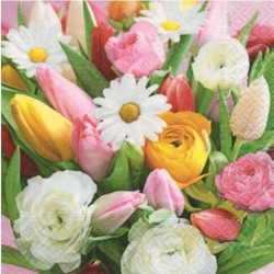 Serviette en papier motifs Fleurs Mix de Printemps  (vendue à l'unité,  30 x 30 cm)