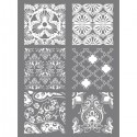 Tapis Pochoir à relief silk Screen HINDOU pour impression de motifs sur pâte polymère  (11.4 x 15.3 cm, 6 motifs différents)