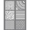 Tapis Pochoir à relief Silk Screen ETHNIQUE pour impression de motifs sur pâte polymère  (11.4 x 15.3 cm, 6 motifs différents)