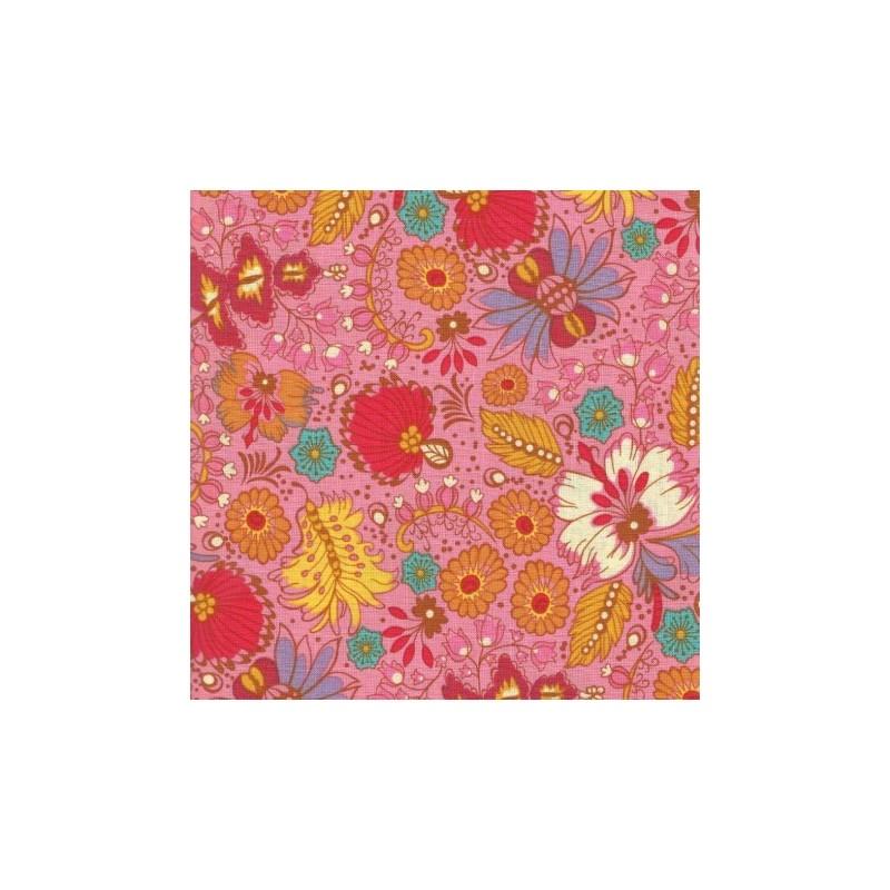 """Tissu imprimé Fleurs Plumes """"Coloring Garden"""" (l: 110 cm vendu par 10 cm) 100% coton"""