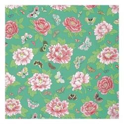 """Tissu imprimé Vert pistache Pivoine & Papillons """"Peony Butterflies"""" (l: 110 cm vendu par 10 cm) 100% coton"""