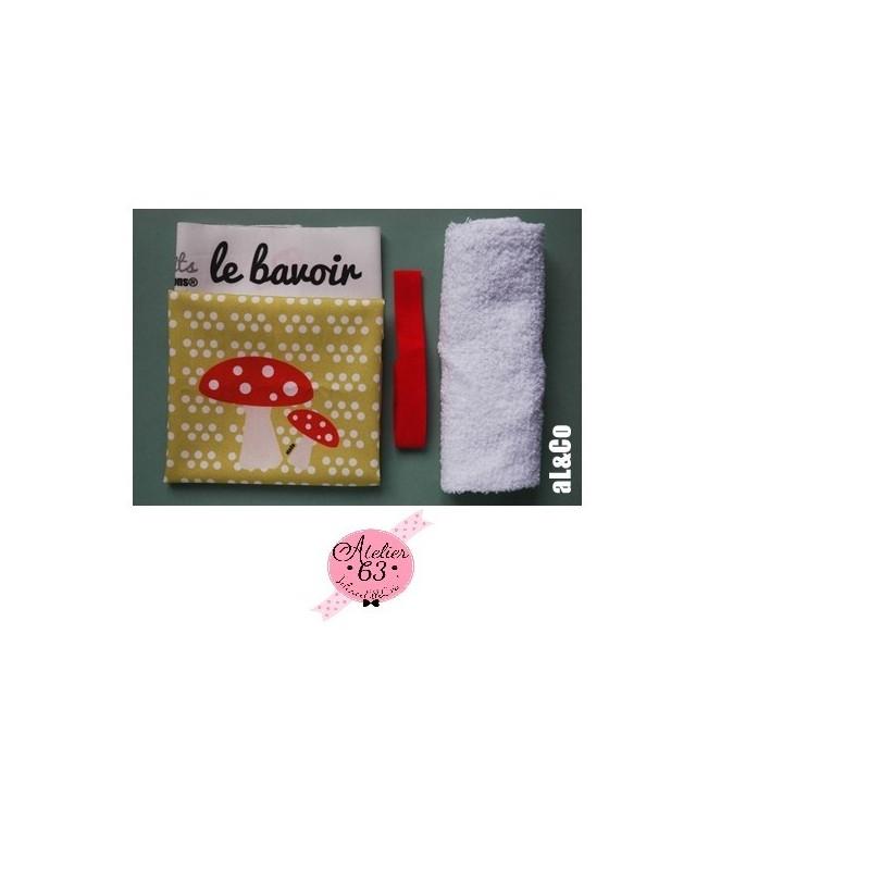 Bavoir à confectionner soi-même kit Les Petits champignons, Collection Al&Co Anne Lacambre