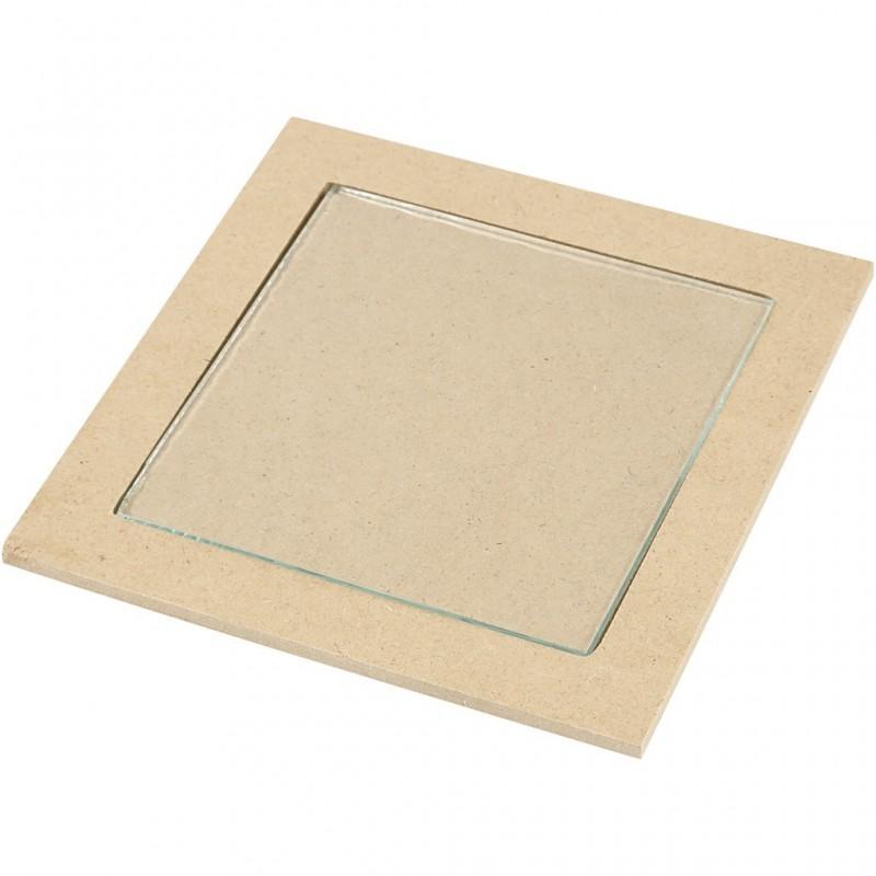 Dessous plat, médium avec centre sous verre (15x15x0,5 cm)
