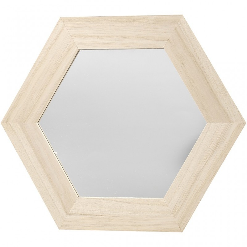 Miroir Hexagonal, bois clair brut (26x26 cm), à décorer