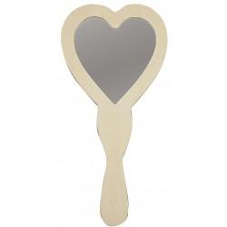 Miroir à Main, forme Coeur bois clair brut (23x24 cm), à décorer