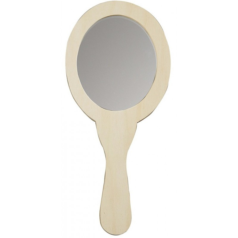 Miroir à Main, forme ovale bois clair brut (23x24 cm), à décorer