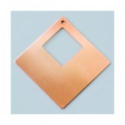 Pendentif support carré 1 trou  en Cuivre pour  Création de Bijoux Efcolor