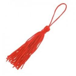 Pompon Textile en Nylon coloris Rouge  (7,5 cm), ou breloque textile, Vendu à l'unité