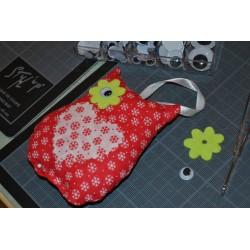 Pompon Textile en Nylon coloris Rose  (7,5 cm) ou breloque textile, Vendu à l'unité