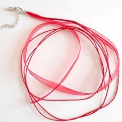 Collier ruban 4 brins tour de cou Rouge création Bijoux ( 50 cm - avec chaînette de sécurité)