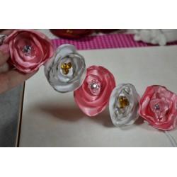 Collier ruban 4 brins tour de cou Marron création Bijoux ( 50 cm - avec chaînette de sécurité)