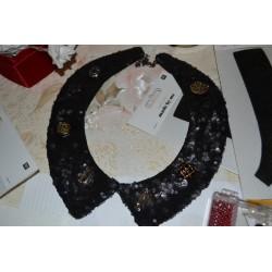 Col Claudine en feutrine noir 100 % faux col claudine  à customiser