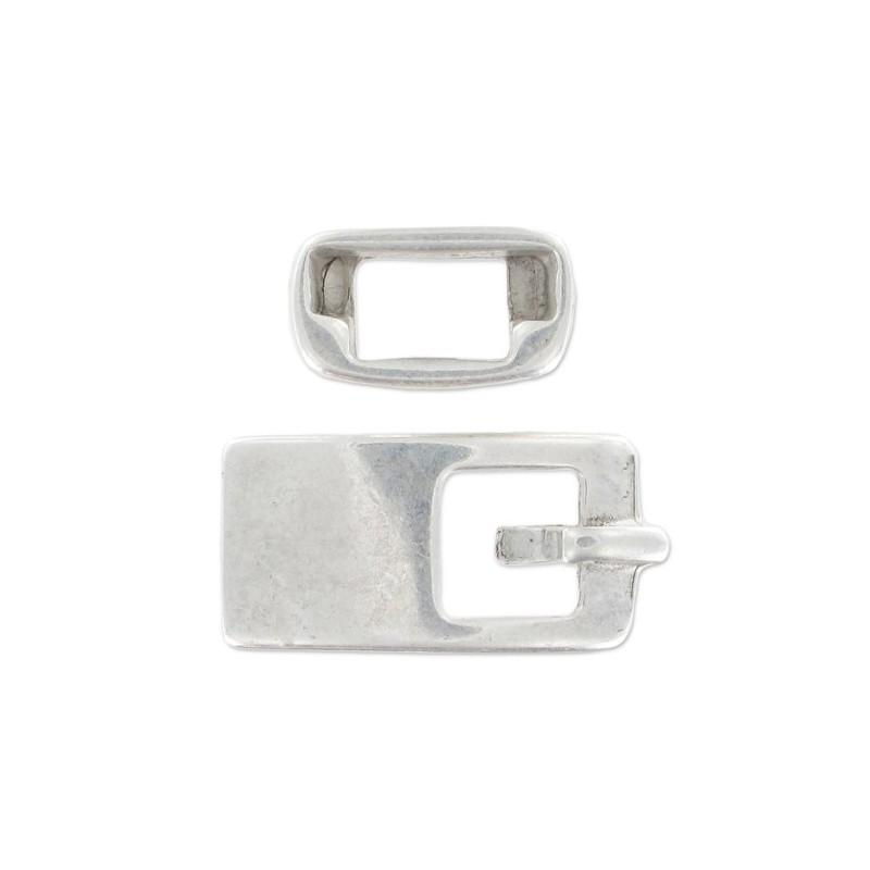 Fermoir boucle forme carré coloris argent vieilli pour ceinture lacet 10 mm, Longueur 29 mm x 18 mm