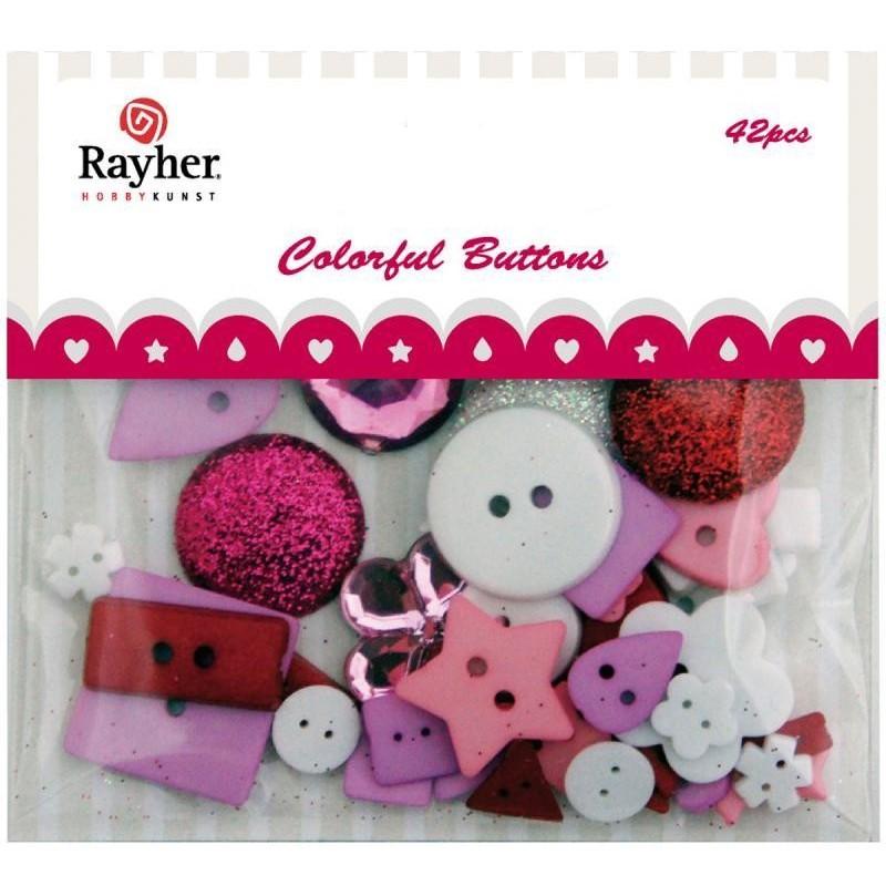 Boutons Assortiment en sachet mélange rose/rouge/pailleté boutons à coudre ou à coller en  Mini Embellissement