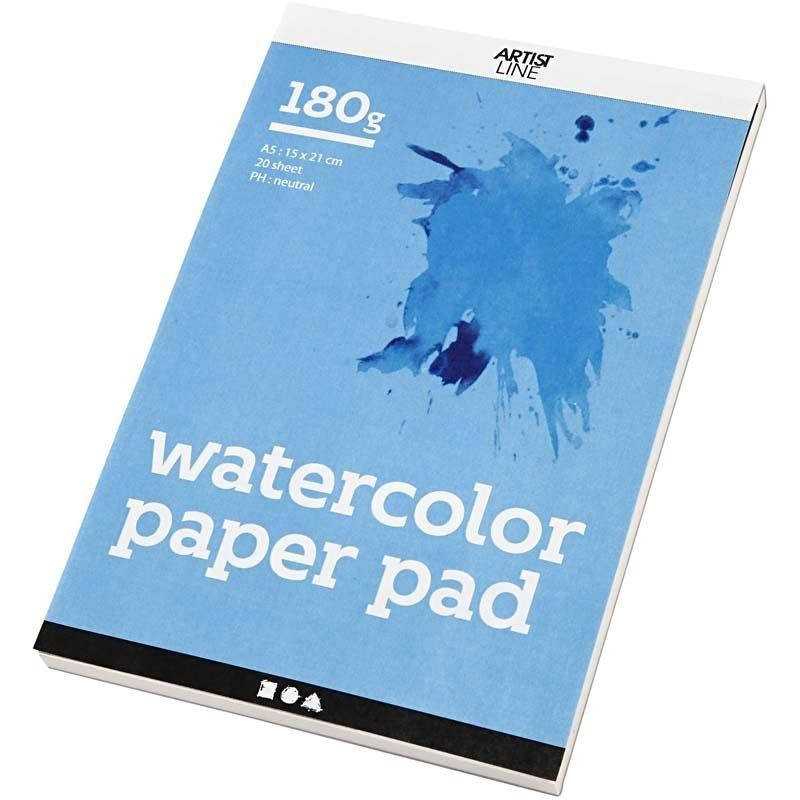 Bloc papier Spécial Aquarelle Feuilles A5 148x210 mm, 180 gr, blanc, 20 feuilles