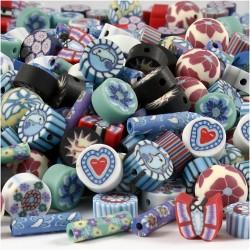 Perles  en pâte polymère assortiment design aléatoire (sachet de 20 pièces)