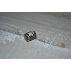 Perles en verre forme tube fleuries fond gris Peintes à la main (sachet : 2 pièces)
