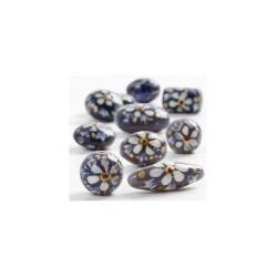 Perles en verre forme Olive fleuries fond gris Peintes à la main (sachet : 2 pièces)