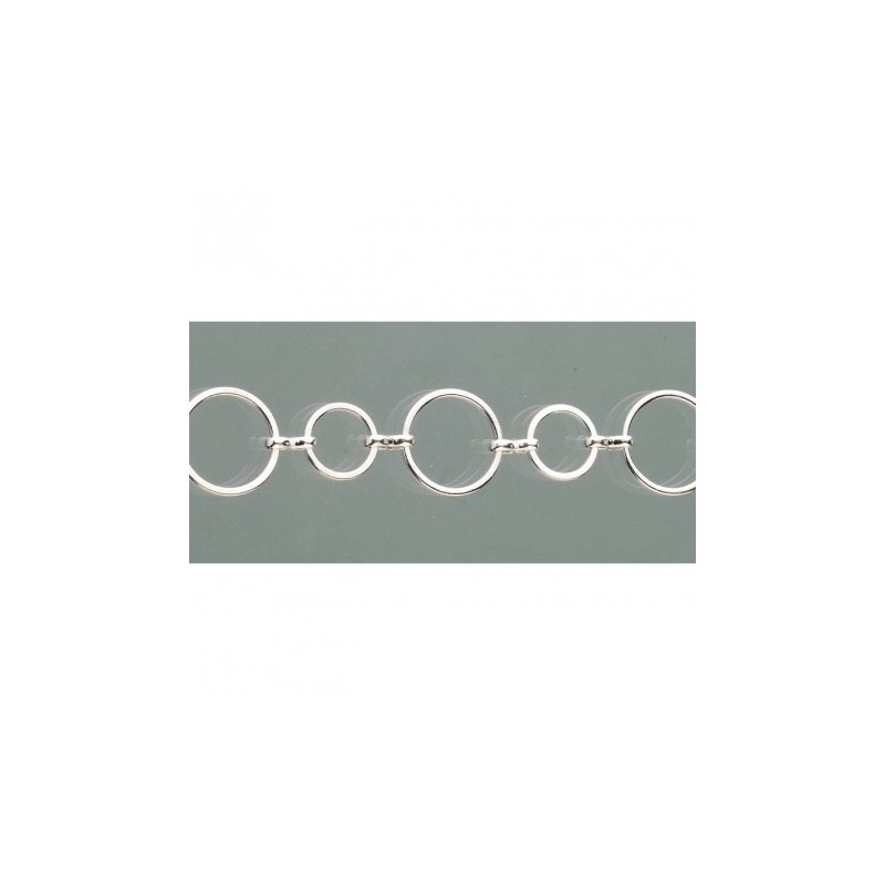 Chaîne  pendentif collier cercles 25 cm, cercles plats 7 mm et 10 mm coloris Argenté  pour Création de Bijoux