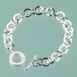 Bracelet avec cercles métal argenté   pour Création de Bijoux (longueur : 18 cm)