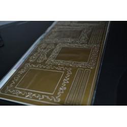 Planche stickers  Peel Off motifs Cadres Carrés Dentelle Doré pour carterie, embellissements