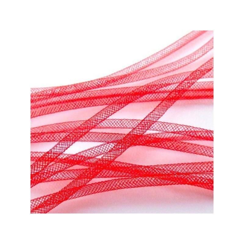 Fil Résille Tubulaire Rouge  diamètre 4 mm (Sachet : 1 m)