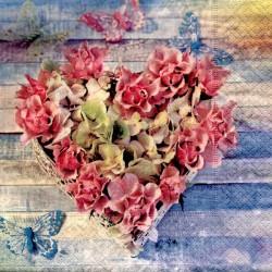 Serviette en papier motifs Coeur Végétal Roses  (vendue à l'unité,  30 x 30 cm)