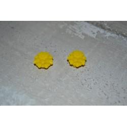 Perles très fines, forme bouton de Fleur dalhias, en résine, 15x8 mm, la taille du trou 1,5 mm,  lot de 2, couleur orange