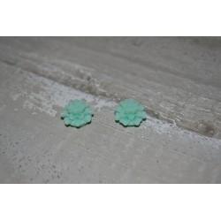 Perles très fines, forme bouton de Fleur dalhias, en résine, 15x8 mm, la taille du trou 1,5 mm,  lot de 2, couleur bleu mer