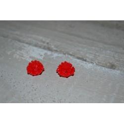 Perles très fines, forme bouton de Fleur dalhias, en résine, 15x8 mm, la taille du trou 1,5 mm,  lot de 2, couleur rouge