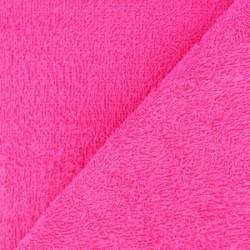 Tissu éponge uni rose fushia (l: 150 cm vendu par 10 cm) 100% coton
