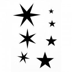Pochoir home déco repositionnable étoiles 7cm x10 cm pour customisation textile, décoration mais aussi pour tatouage temporaire