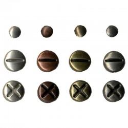 Attaches parisiennes  brads façon vis vintage métal, thème collection industriel coloris métal 3 teintes  (sachet 140 pièces)