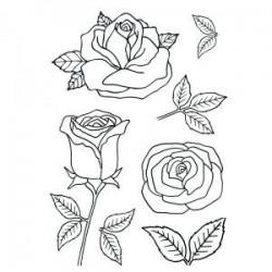 Tampon clear,  tampon transparent motifs Roses, set de 6 tampons motifs différents fleurs & feuillage rose