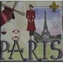 Serviette en papier motifs Souvenirs de Paris  (vendue à l'unité,  30 x 30 cm)