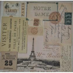 Serviette en papier motifs Carte postale vintage  (vendue à l'unité,  30 x 30 cm)